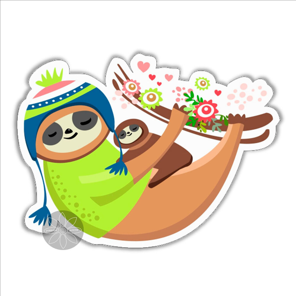 Details about sloth sticker mum mom mummy mother and baby100 x 74 5mm vinyl sticker car bumper