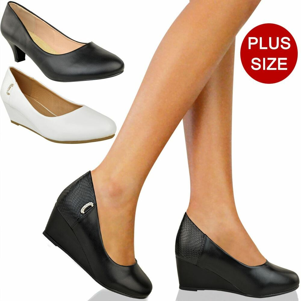 405589eee9 Details about Womens Ladies Large Plus Size Black Low Heel Court Shoes  Office Wedge Sandals UK