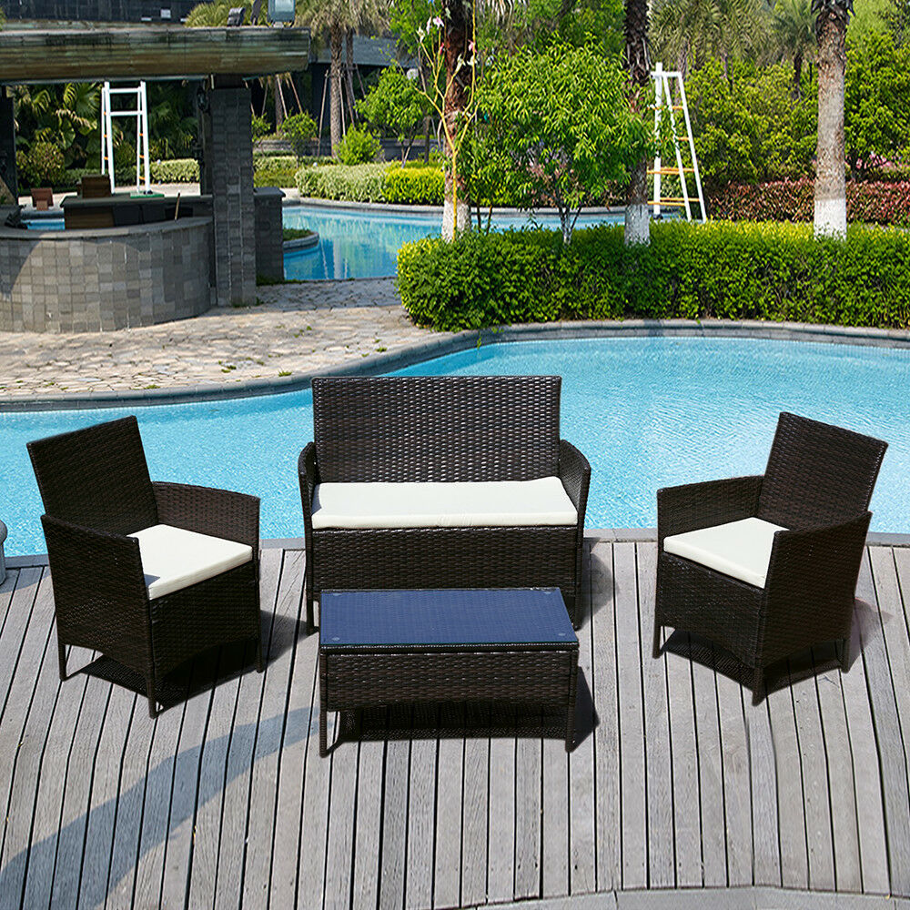 4 Pcs Rattan Sofa Wicker Furniture Table Chair Set Cushioned Patio