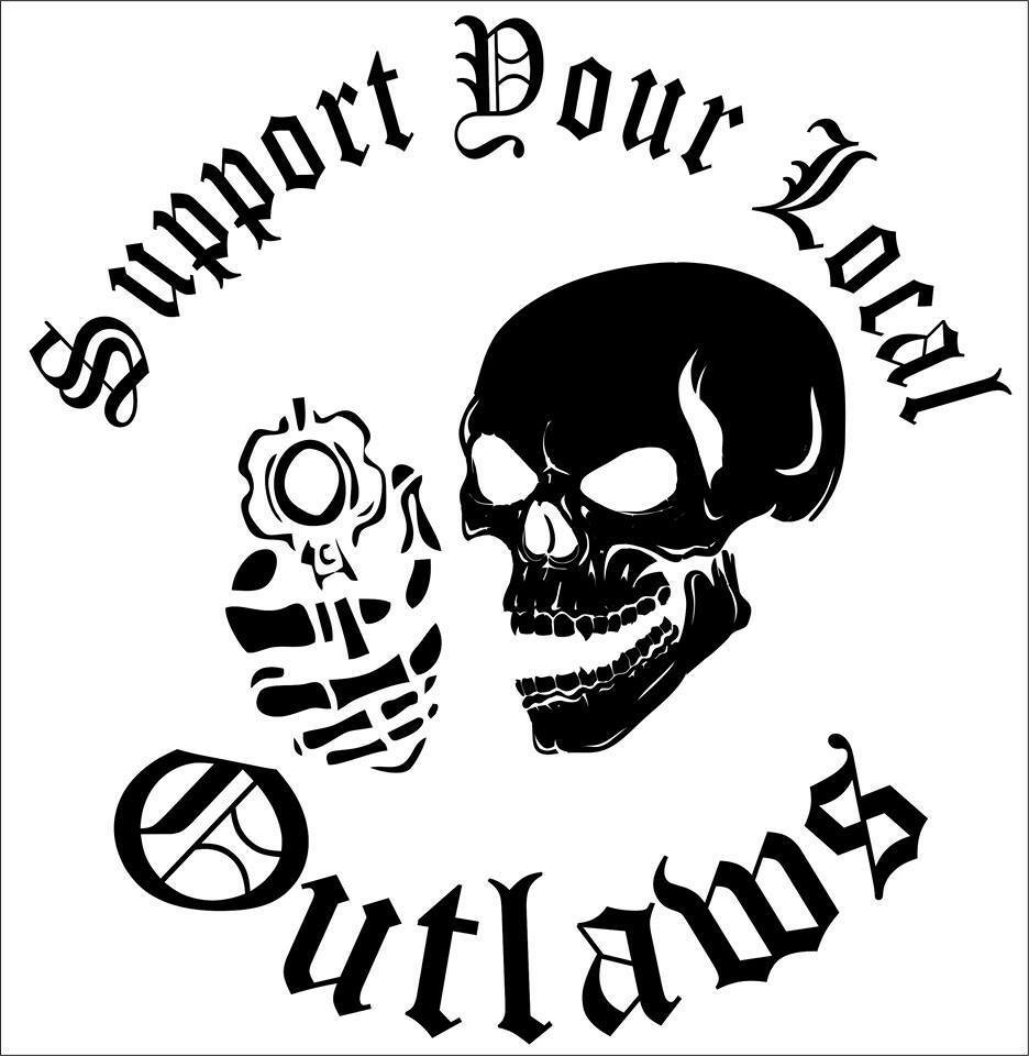 Details about huge sized support your local outlaws biker black white motorcycle bike decal
