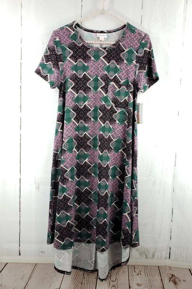 b0c736dc6ab1 Details about LuLaRoe Carly Size XS Purpe Green Patchwork Print