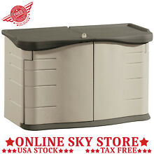 Split Lid Deck Storage Shed Plastic Outdoor Patio Pool Furniture Box Container