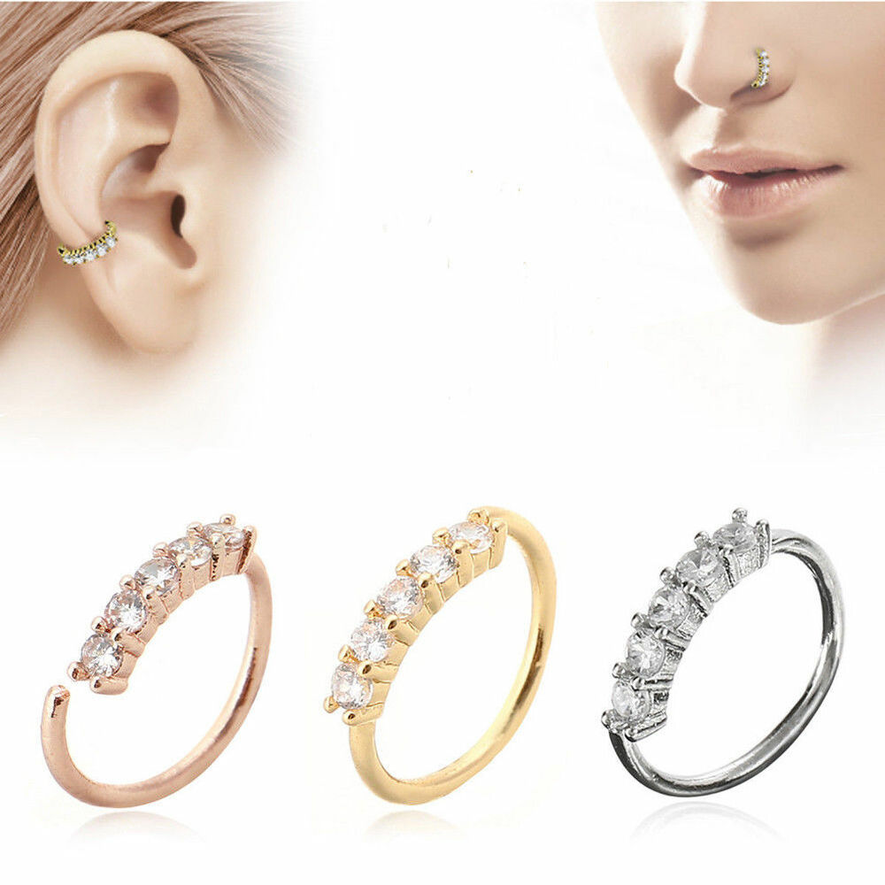 4a8ce84a6 Details about Crystal Nose Ring Ear Hoop Tragus Helix Cartilage Earring Gold /Silver/Rose Gold