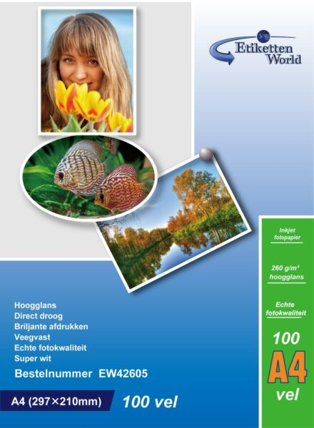 100 Feuilles Papier Photo A4 Premium Haute Brillance 260g EtikettenWorld