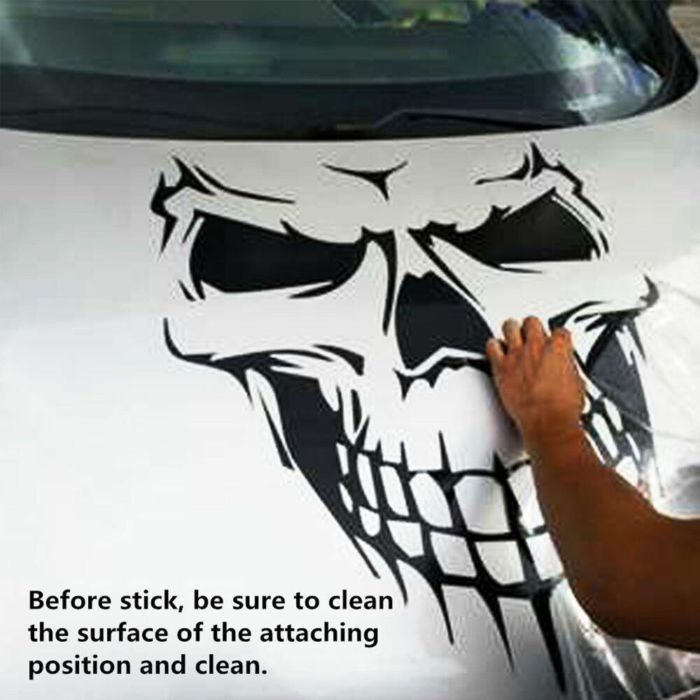 Details about black skull hood decal vinyl large graphic sticker car truck tailgate window 16