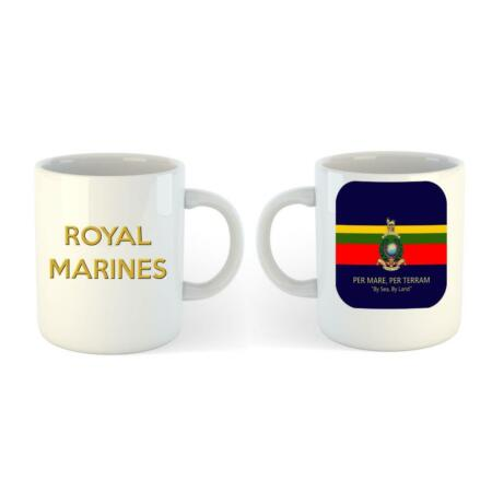 img-Royal Marines Ceramic Mug with regimental badge on Flag Colours with Motto