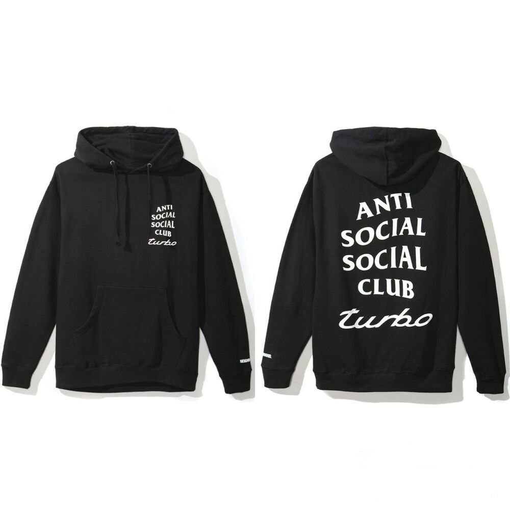 77a6665006ec Details about Anti Social Social Club x Neighborhood 911 Turbo Black Hoodie  Size S M L XL XXL
