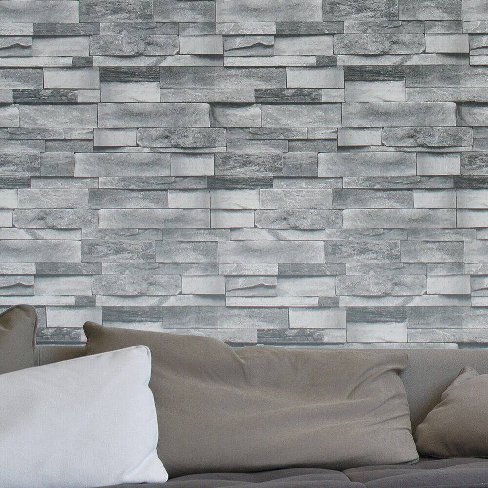 3d Effect Brick Stone Accent Wall: Vintage Faux Stacked Brick 3D Effect Texture Wallpaper Dk