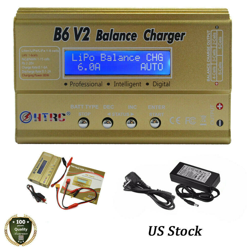 Htrc Imax B6 V2 80w Rc Car Drone Balance Charger For Lipo Life Nicd Digital Nimh Battery And 730440053754 Ebay