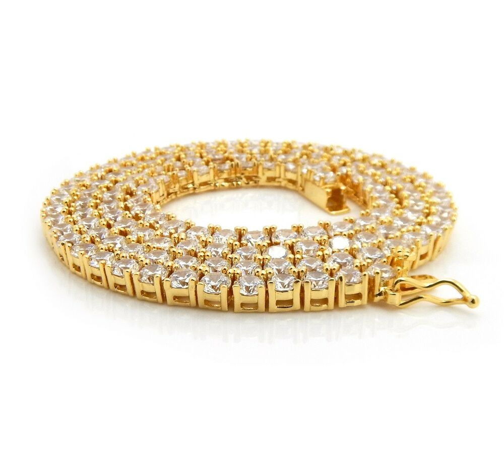 Details About Mens Tennis Chain Necklace Single Row 14K Gold Stamp Solitaire Lab Diamond