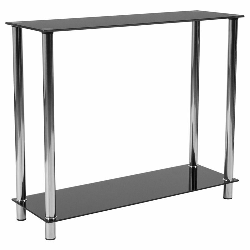 Flash Furniture Glass Top Console Table In Black Ebay