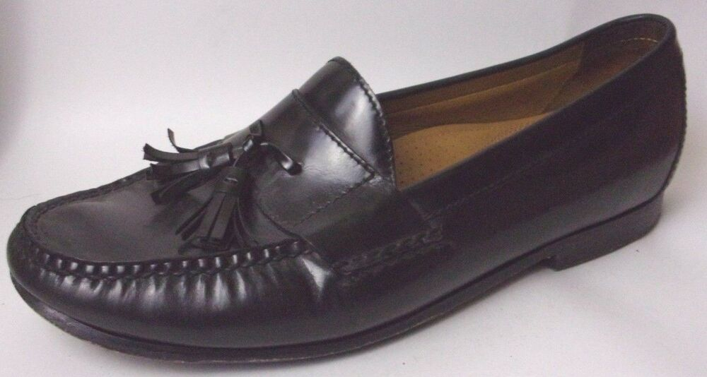 Cole Haan Air Black Leather Moc Tassel Loafers Mens 10 Wide CO6587 Dress Shoes