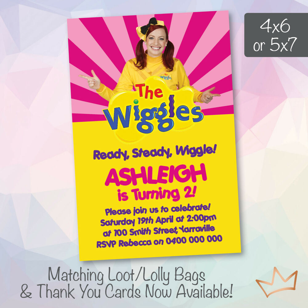 Details About Personalised The Wiggles Emma Birthday Invitations Party Invites