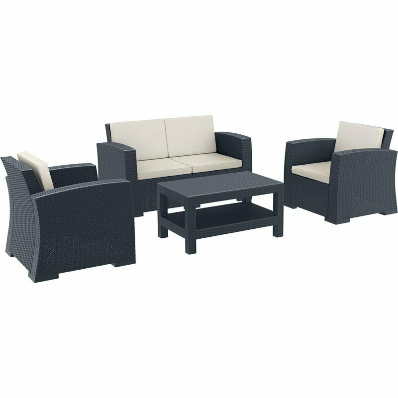Compamia Monaco 4 Piece Outdoor Sofa Set In Dark Gray With Cushion