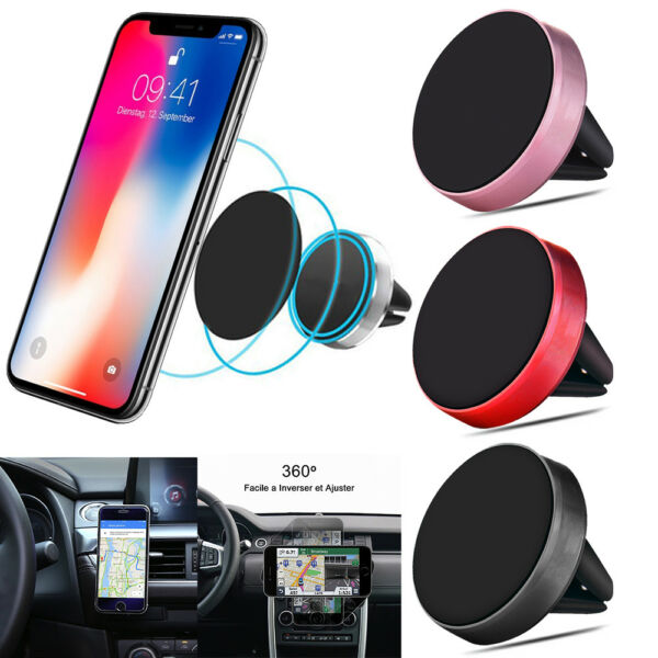 SUPPORT UNIVERSEL VOITURE SMARTPHONE TELEPHONE MAGNETIQUE AERATION APPLE SAMSUNG