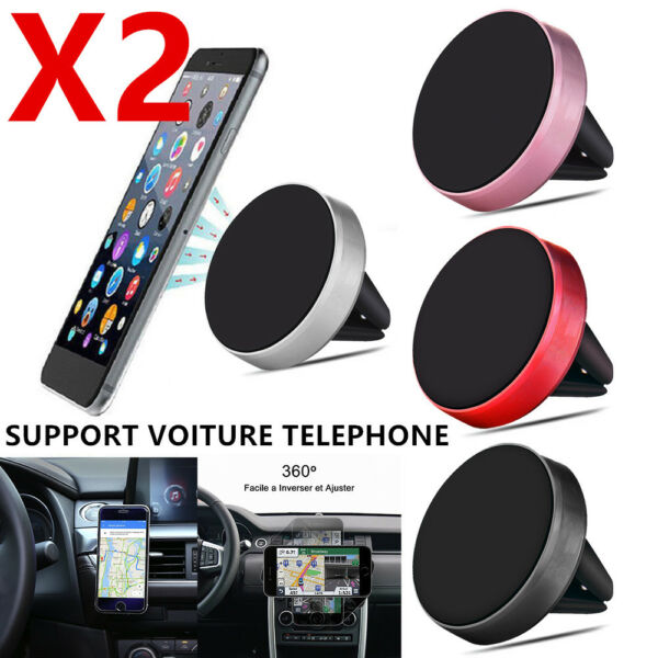 Support téléphone Voiture Magnétique Grip iPhone Sony Samsung Huawei GPS LOT/2