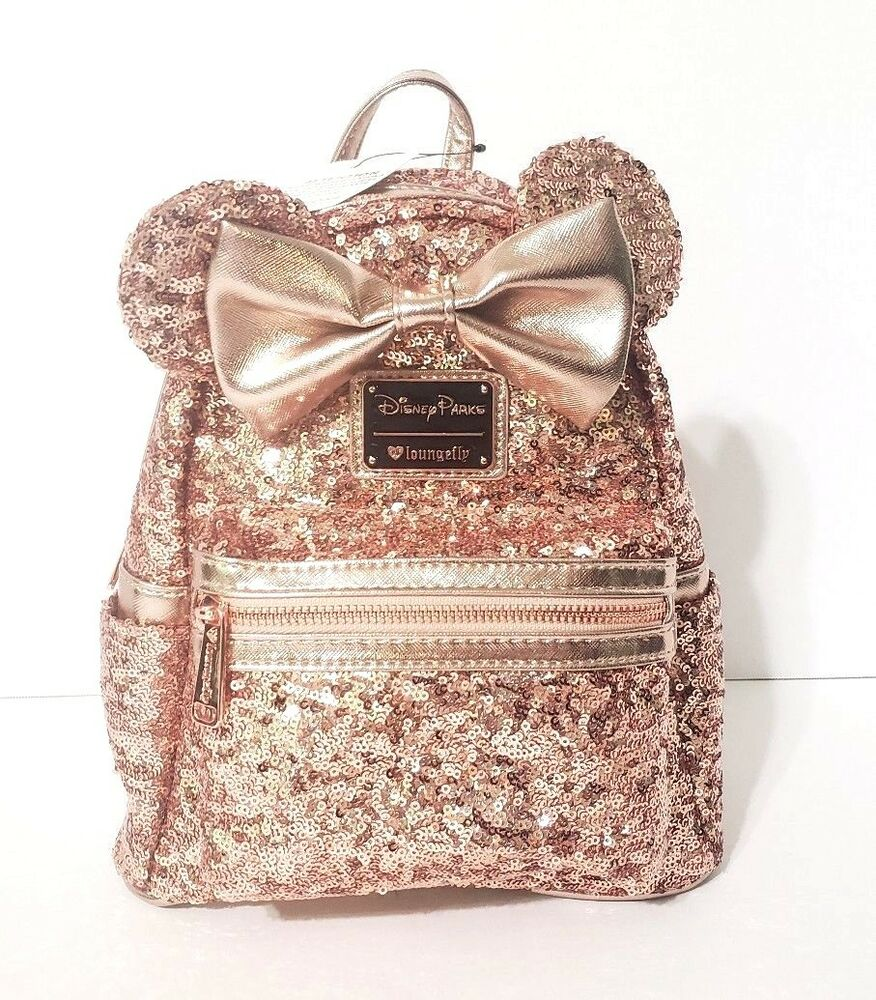 43b5c3f609a Disney Parks Rose Gold Minnie Mouse Sequined Mini Backpack Loungefly ...