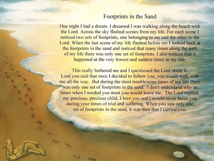 Footprints In The Sand Inspirational Ready To Frame Poem
