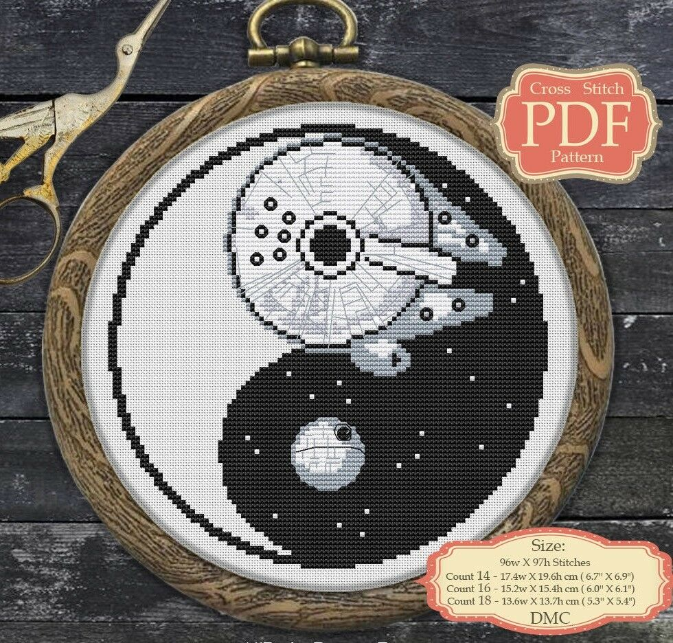 ea0cd477b599c YinYang - Death Star - Millenium Falcon - Star Wars Cross stitch PDF  pattern 005