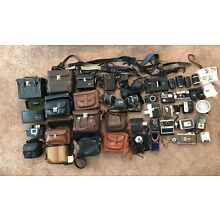 Huge Lot of Vintage Camera Gear Film Bodies 8mm, 35mm, Lenses, Cases Canon Argus