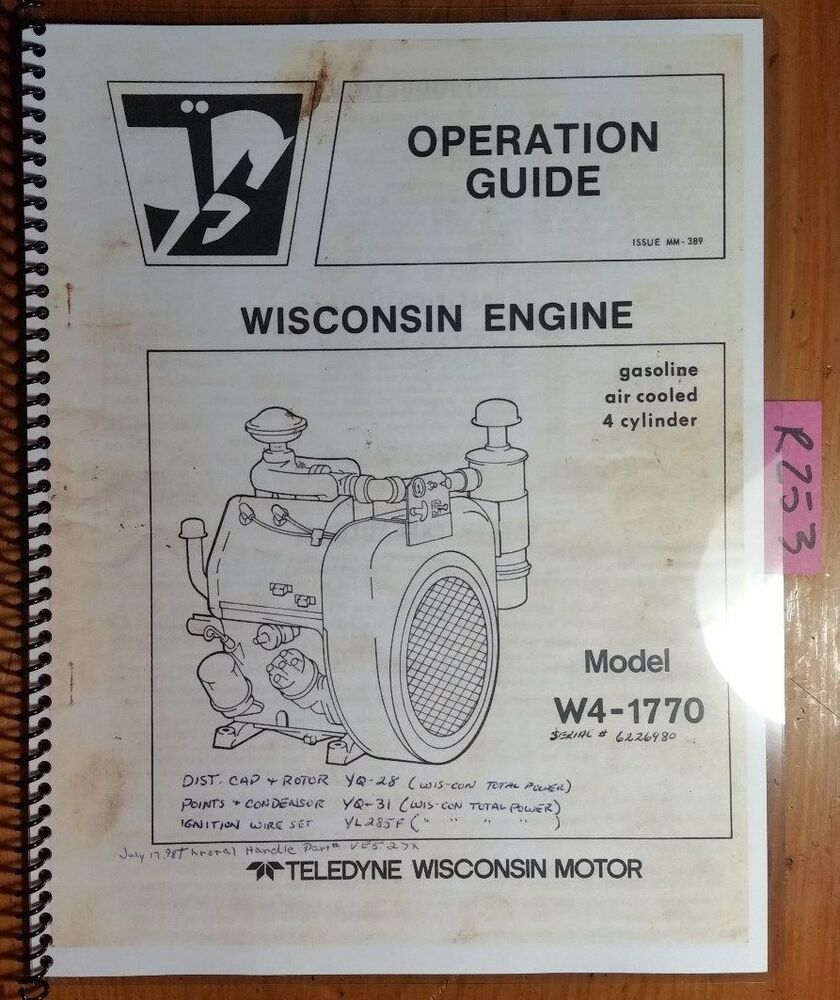Wisconsin W4-1770 Gasoline 4 Cylinder Air Cooled Engine Owner Operator's  Manual | eBay