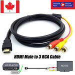 HDMI Male to 3 RCA Video Audio Converter Component AV Adapter Cable 5-FT CA SELL
