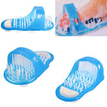 US Easy Feet Foot Scrubber Brush Massager Shower Clean Blue Slippers No Stooping