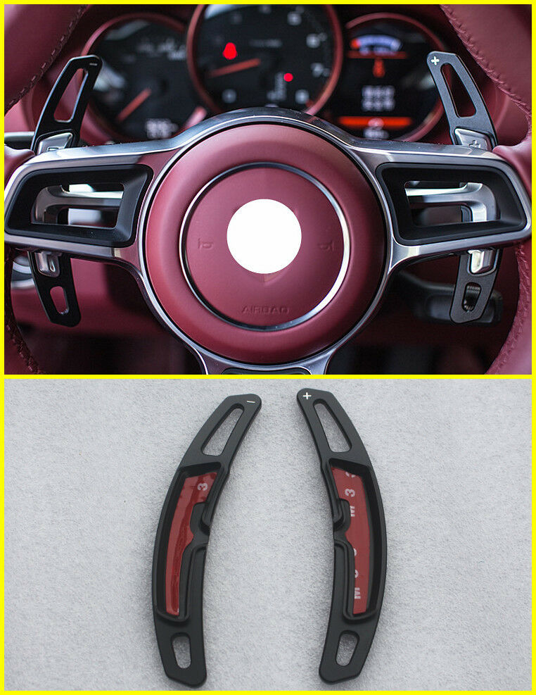 Details About Black Steering Wheel Shift Paddle Extension Racing For Porsche 911 718 Macan
