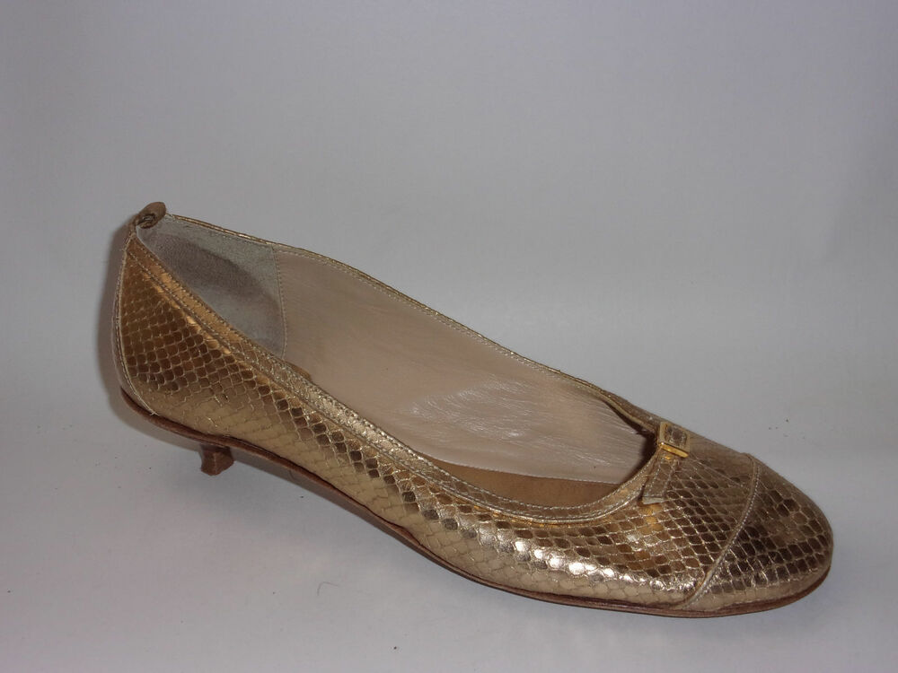 524fd24008be Details about KATE SPADE New York Round Toe Kitten Heel Gold Snake Shoes  Womens 7.5 M Leather