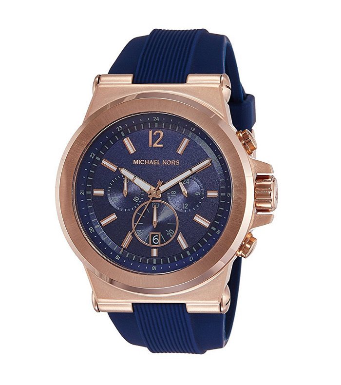 95a0313eb5a8 Details about New Michael Kors Dylan Rose Gold Navy Blue Chronograph  Silicone MK8295 Men Watch