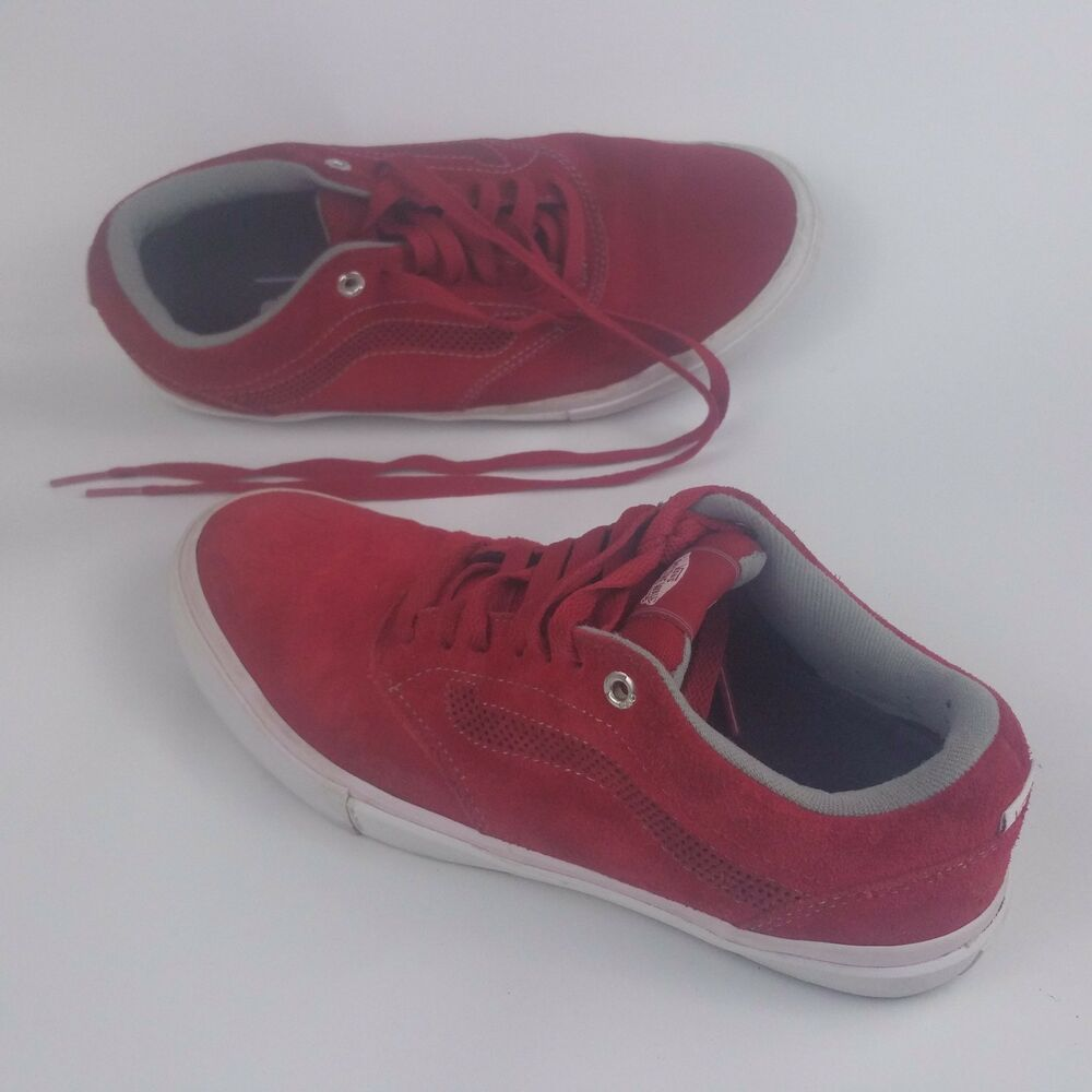 a5369f5e9d Details about Vans Off The Wall Men s Skate Board Low Top Sneaker Shoes Red  Leather Suede Sz 7