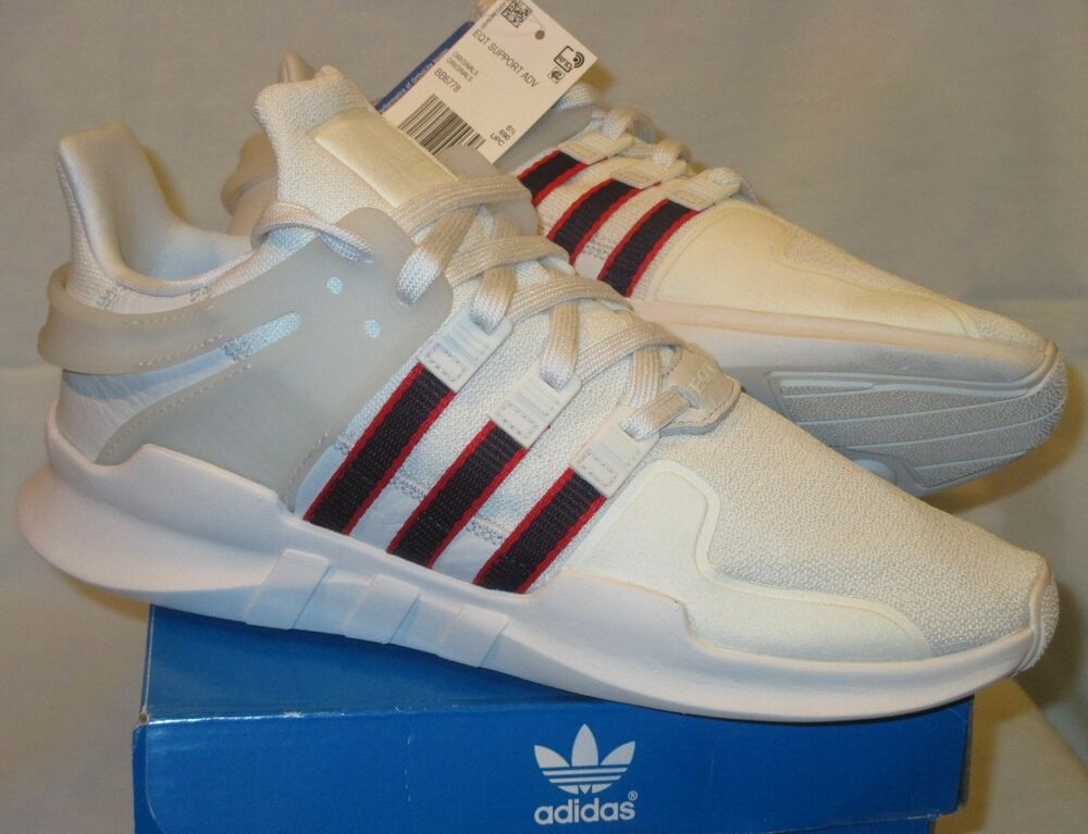 cheaper bf76d 01e53 Details about NIB Mens 9 ADIDAS Originals EQT SUPPORT ADV SHOES BB6778  WHITE Navy Red Advance