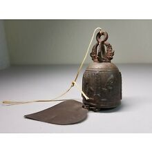 Antique Bell Dragon Elephant Temple Buddha Hang Chime Thai Bronze Clapper Asia