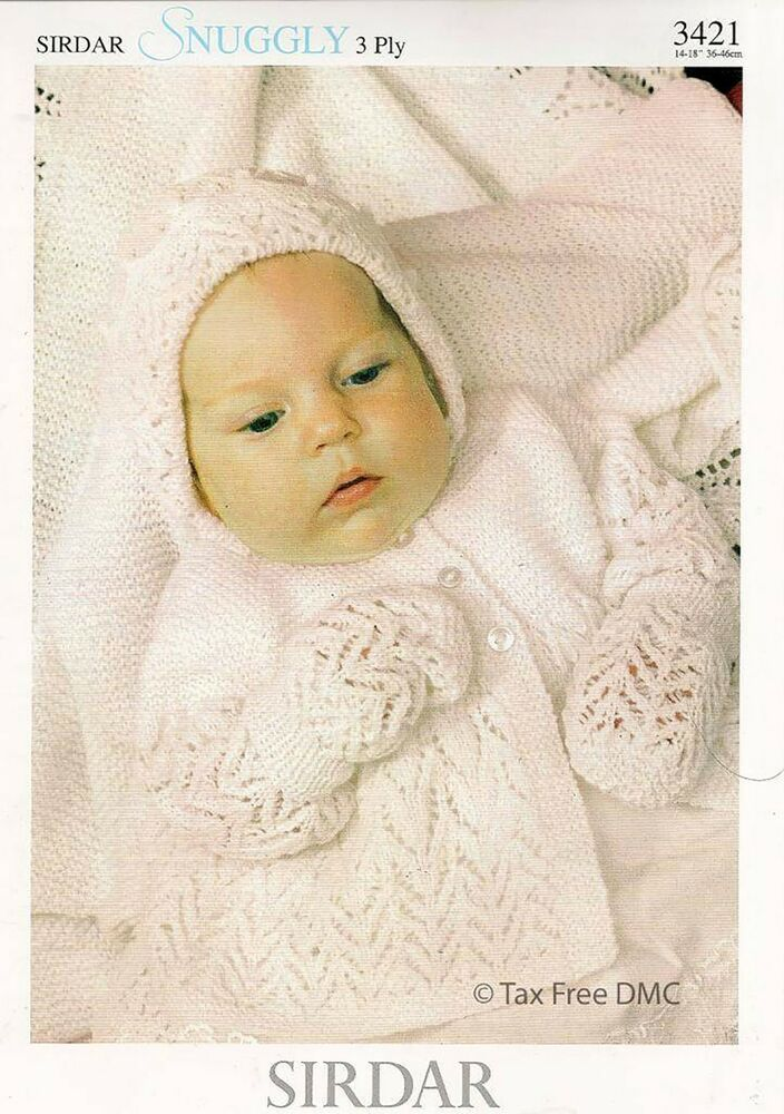 Vat Free Hand Knitting Pattern Sirdar Snuggly 3ply Baby Matinee Coat