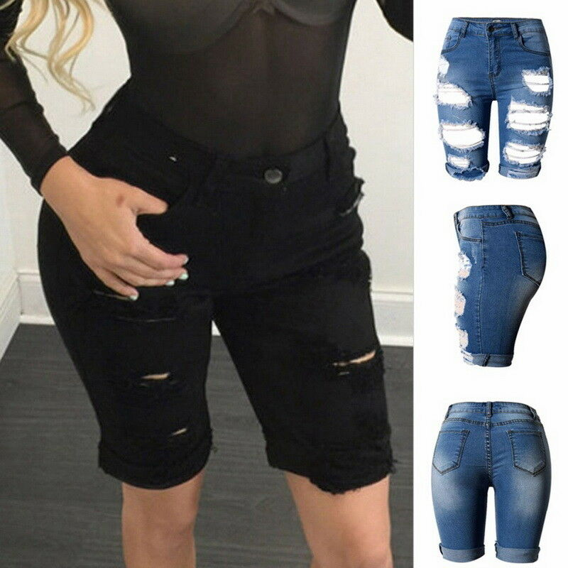 3810742571 Details about US NEW Fashion Womens Ripped Jeans Shorts Pants High Waist Knee  Length Trousers