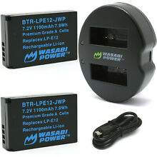Wasabi Power Battery (2-Pack) and Dual USB Charger for Canon LP-E12