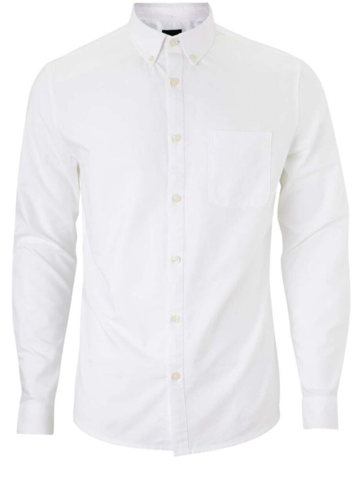 4abd120f19f Details about Mens Slim Fit Oxford Shirt Long Sleeved Button Down Collar  Casual Cotton Shirts