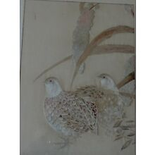 Antique Chinese Japanese Finely Embroidered Silk Tapestry  Birds