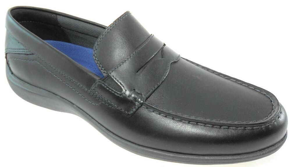 d6d6e1c2dcc Details about ROCKPORT AIDEN PENNY LOAFER MEN S BLACK LEATHER SLIP-ON SHOES