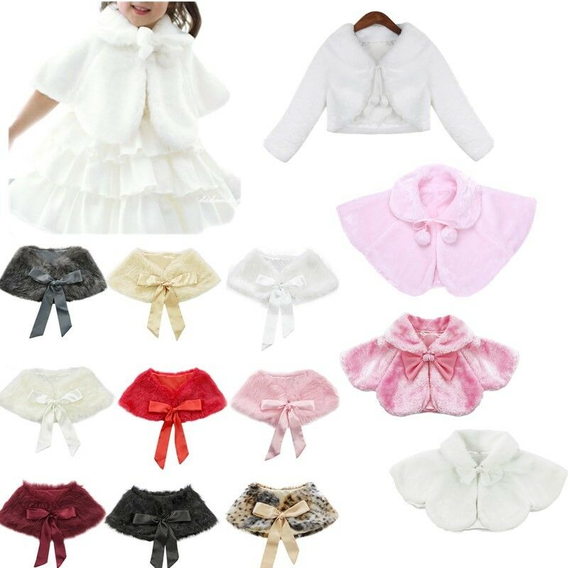 5eb52d6933 Details about Flower Girls Faux Fur Bolero Cloak Shawl Kids Princess Shrug  Cape Coat Jacket
