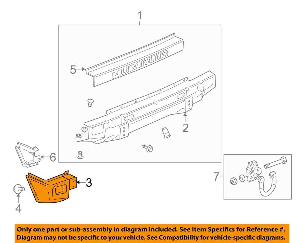 Hummer Gm Oem 03 05 H2 Rear Bumper End Cap Right 12335666 Ebay Hyundai Engine Diagram Intake Area