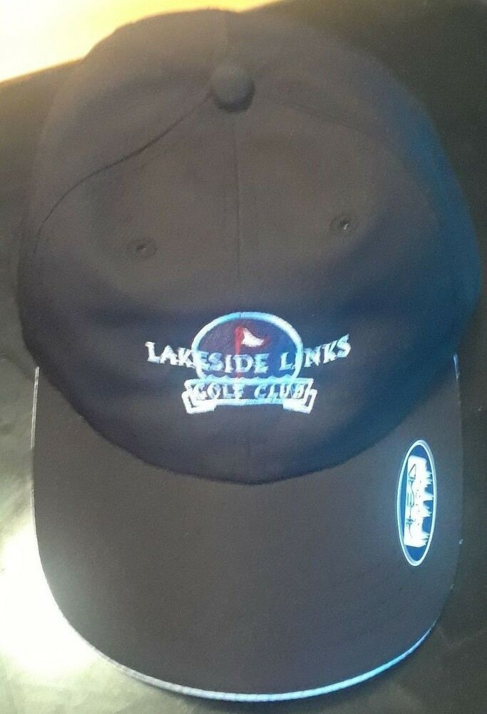 Details about NEW Lakeside Links Golf Club Golf Hat Baseball Cap Flag Black  Adjustable Cooling 57c587df6fec