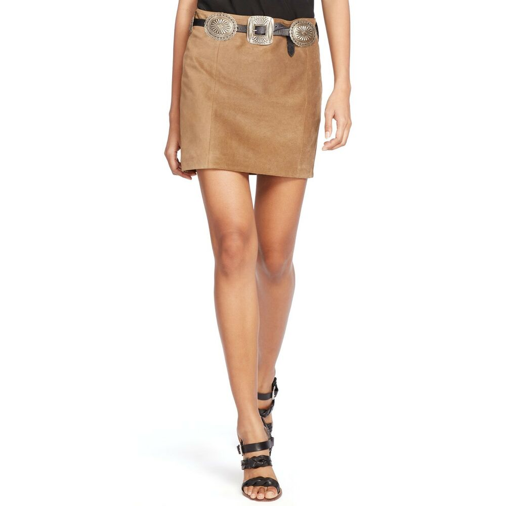 3ee572bc93 Details about NWT Polo Ralph Lauren Suede Leather Tan Brown Mini Short Skirt  $498 – Size 6