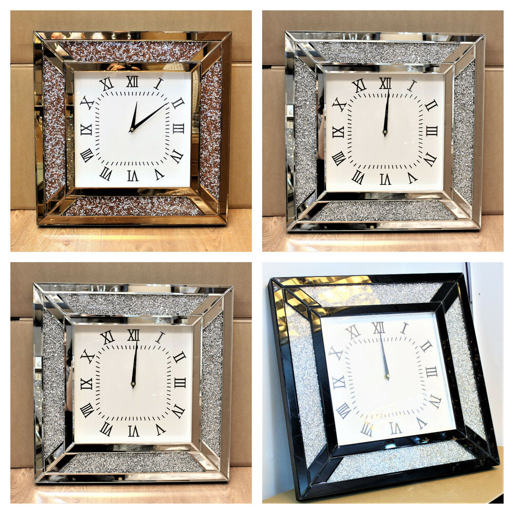 Details About Venetian Jewel Frame Mirror Wall Clock 50cm Square Crushed Diamante