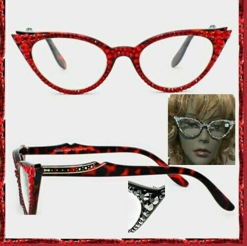 9074c63e916 Details about Crystal Rhinestone Cat Eyes Reading Glasses Optical Frame  Lens Red Bling Brown