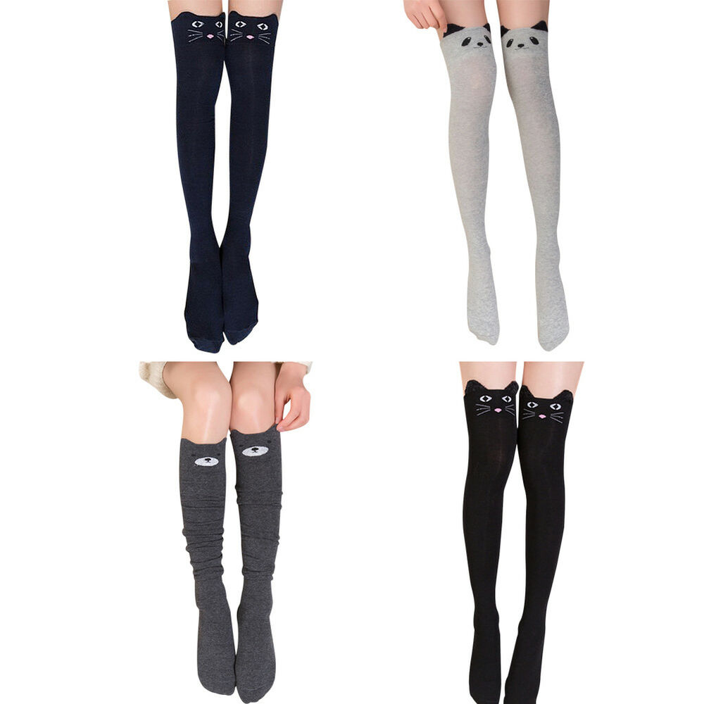 df03026bb88 Details about Womens Cute Kitty Cat Over Knee Thigh High Long Cotton Socks  Tights Stockings