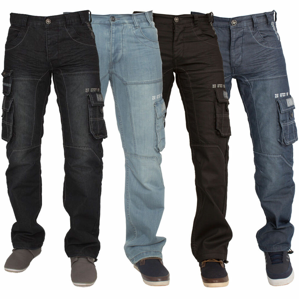 3887a3e7aa69 Details about Mens Enzo Loose Fit Combat Trousers Cargo Jeans Denim Work  Pants Big King Sizes