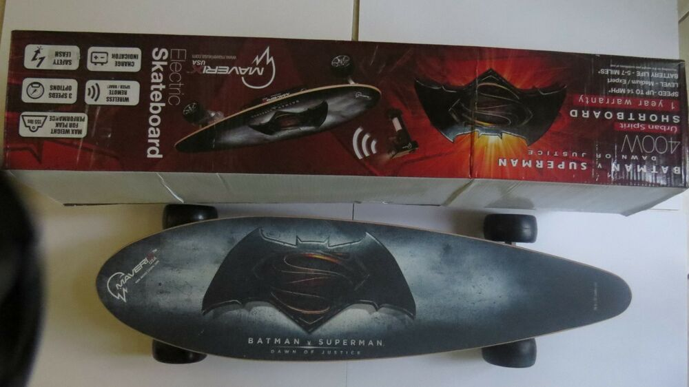 MAVERIX USA DAWN OF JUSTICE Edition Electric Skateboard\/shortboard 400 Watt New  eBay