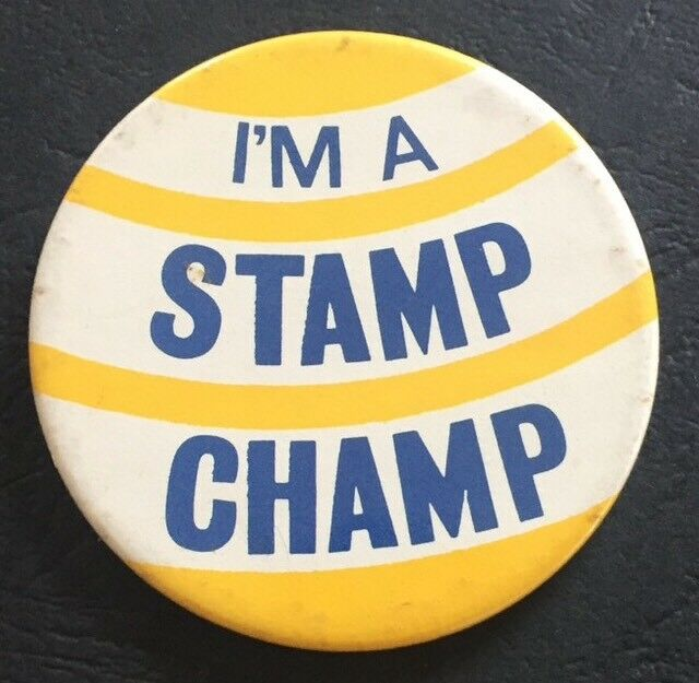 Details About Vintage Badge Im A Stamp Champ Collecting Collector 55cm Pin Button B042