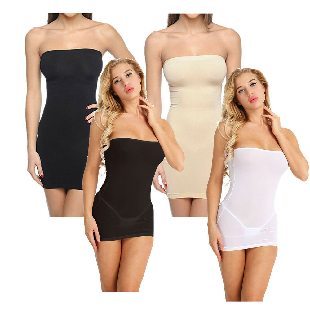 11e200c3ee8e5 Details about Sexy Womens Strapless Shapewear Tummy Control Slip Tube Mini Dress  Body Shapers